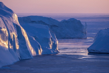GRN1294 Icebergs calved from Jakobshavn Glacier frozen in Disko Bay, Ilulissat, West Greenland