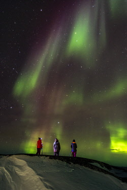 GRN1344 Photographing the Northern Lights (Aurora Borealis), Oqaatsut, West Greenland