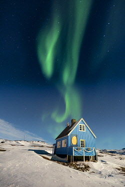 GRN1350 Northern Lights (Aurora Borealis) above the Inuit settlement of Oqaatsut, West Greenland
