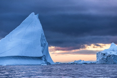 GRN1373RF Icebergs calved from Jakobshavn Glacier floating in Disko Bay, Ilulissat, West Greenland