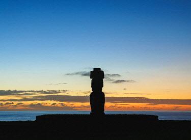 CHI10603AW Moai in Ahu Ko Te Riku at sunset, Tahai Archaeological Complex, Rapa Nui National Park, Easter Island, Chile