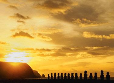 CHI10613AW Moais in Ahu Tongariki at sunrise, Rapa Nui National Park, Easter Island, Chile