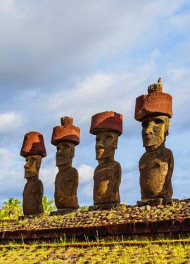 CHI10622AW Moais in Ahu Nau Nau by the Anakena Beach, Rapa Nui National Park, Easter Island, Chile