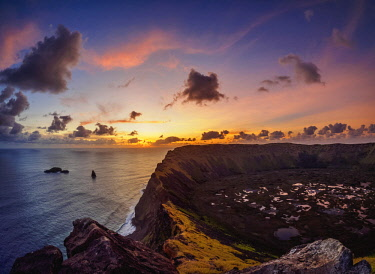 CHI10636AW Crater of Rano Kau Volcano at sunset, Easter Island, Chile
