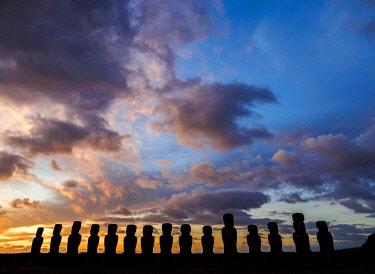 CHI10795AWRF Moais in Ahu Tongariki at sunrise, Rapa Nui National Park, Easter Island, Chile