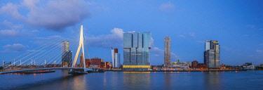 NL02300 Netherlands, South Holland, Rotterdam, Erasmusbrug, Erasmus Bridge and Wilhelminakade 137, De Rotterdam, The Rotterdam Building