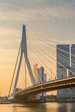 NL02320 Netherlands, South Holland, Rotterdam, Erasmusbrug, Erasmus Bridge and Wilhelminakade 137, De Rotterdam, The Rotterdam Building, Sunrise