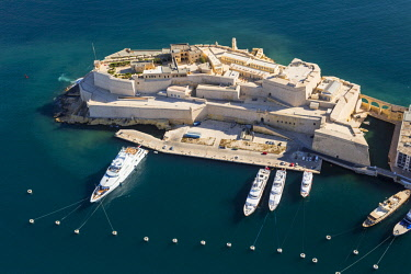 Malta, South Eastern Region, Valletta. Aerial view of Fort St. Angelo on Vittoriosa.