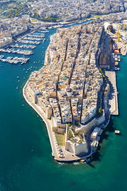 Malta, South Eastern Region, Valletta. Aerial view of Senglea, one of the Three Cities.