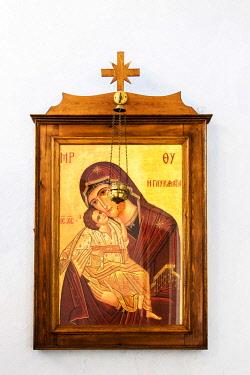 GRE1364AW Virgin Mary icon, Pyrgos, Santorini, South Aegean, Greece