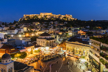 GRE1389AW Night city skyline with Monastiraki square and Acropolis in the background, Athens, Attica, Greece