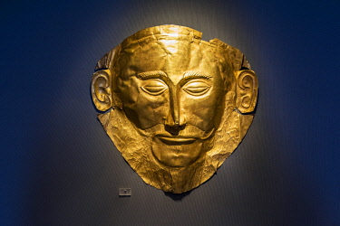 GRE1415AW Mask of Agamemnon, National Archaeological Museum, Athens, Attica, Greece