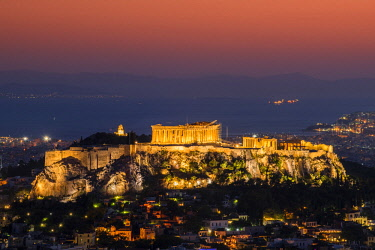 GRE1420AW Sunset top view over Acropolis, Athens, Attica, Greece