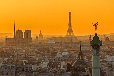 HMS1916011 France, Paris, general view of Paris at sunset with the July Column (Colonne de Juillet) at Place de la Bastille, the Notre Dame cathedral on the Ile de la Cite, the Eiffel Tower, the Invalides dome a...