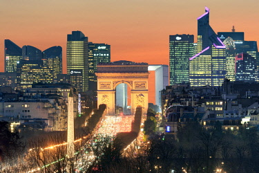 HMS2185553 France, Paris, the historical axis with the obelisk of Concorde square, Champs Elysees avenue, the arch of Triumph of Etoile square and La Defense business district