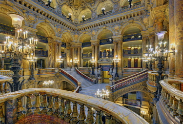 HMS2458478 France, Paris, Garnier opera house, the stairway