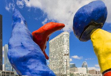 HMS3083379 France, Hauts de Seine, suburb of Paris, La Defense, Puteaux, parvis of the commercial center Les Quatre Temps with the monumental sculpture of Joan Miró entitled Deux personnages fantastiques (1976)...