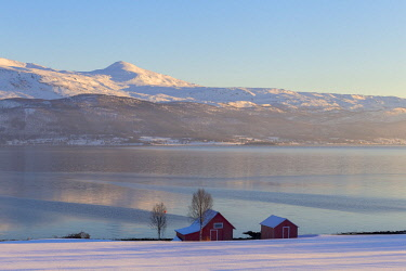 CLKFB59754 Winter panorama around Gibostad. Gibostad, Gisundet, Senja, Norway, Europe.