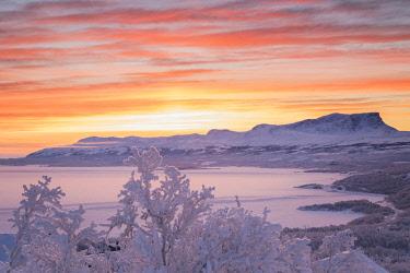 CLKFM58728 Sunrise with burning sky,Abisko,Kiruna,Sweden,Europe