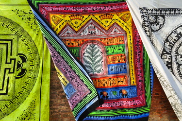 CLKFM59583 Silk fabrics printed by hand in the streets of Kathmandu,Nepal,Asia
