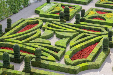 CLKFV57621 Details of the gardens of Villandry castle from above. Villandry, Indre-et-Loire, France.