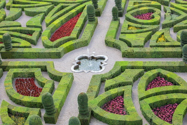 CLKFV57632 Details of the gardens of Villandry castle from above. Villandry, Indre-et-Loire, France.