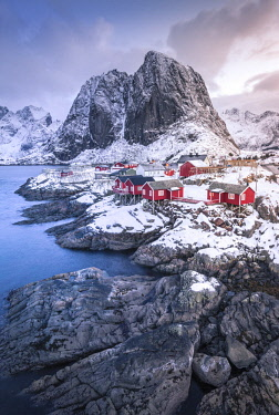 CLKST59660 Beautiful and iconic Hamnoy village, Lofoten Islands, Norway