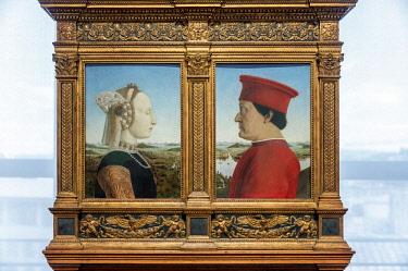 ITA10740AW Europe, Italy, Tuscany, Florence, Uffizi Gallery, Portraits of the Duke and Duchess of Urbino by Piero della Francesca