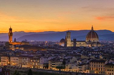 ITA10725AW Europe, Italy, Tuscany, Florence, Palazzo Vecchio and Santa Maria del Fiore at Dusk