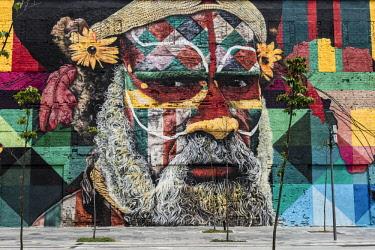 BRA3386AW Brazil, murals by Eduardo Kobra in Rio's refurbished porto maravilha port area