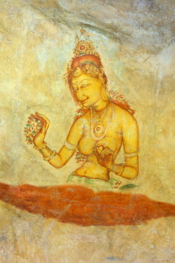 SRI2031AW Religious paintings at Sigiriya, Sri Lanka