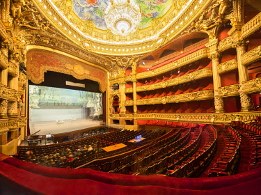 Auditorium of the Palais Garnier Opera House, designed by the architect Charles Garnier in 1875, Paris, France