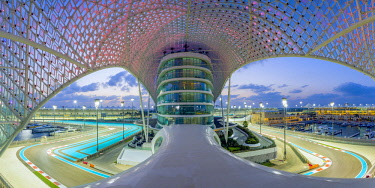 Yas Marina Hotel and Formula 1 race track, Yas Island, Abu Dhabi, United Arab Emirates, UAE