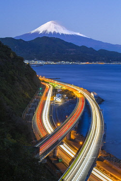 JP04098 Mt. Fuji and traffic driving on the Tomei Expressway, Shizuoka, Honshu, Japan