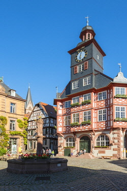 GER10000AW Germany, Hessen, Heppenheim. Historic buildings on Marktplatz market square.