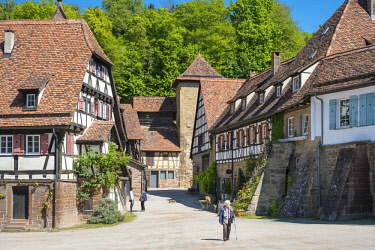 GER9991AW Germany, Baden-Württemberg, Maulbronn. Historic half-timber buildings in the monastery village.