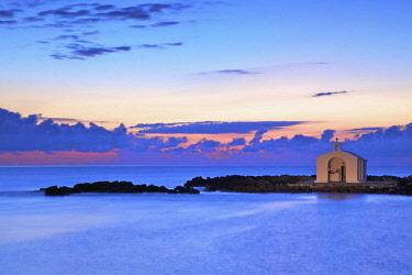 GR12322 Agios Nikolaos Church at Sunrise, Georgioupoli, Crete, Greek Islands, Greece, Europe