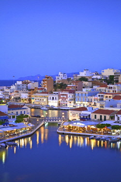 GR12345 Agios Nikolaos Harbour From An Elevated Angle At Dusk, Agios Nikolaos, Crete, Greek Islands, Greece, Europe