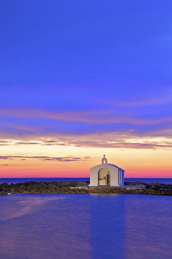 GR12441 Agios Nikolaos Church at Sunrise, Georgioupoli, Crete, Greek Islands, Greece, Europe