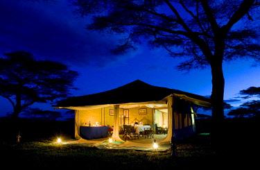 TZ02231 Evening image of dining tent, safari camp, Tanzania