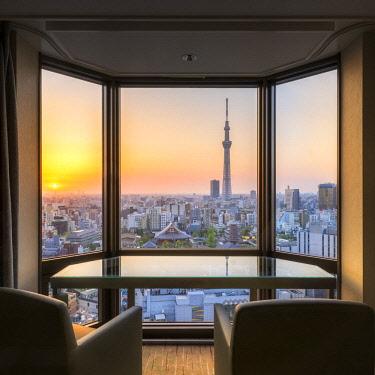 JAP1188AW View from Asakusa View Hotel towards Tokyo Skytree, Tokyo, Asakusa, Japan