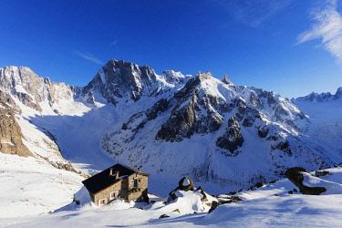 FRA9931 Europe, France, Haute Savoie, Rhone Alps, Chamonix, Refuge courvecle, Dent de Geant 4013m and Grandes Jorasses 4208m