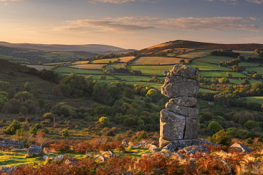 ENG14635AW Bowerman's Nose granite pillar on Hayne Down, Dartmoor, Devon, England. Autumn (October) 2016.