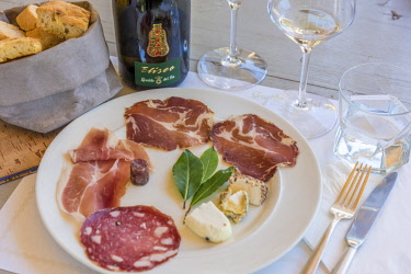 ITA10984AW Italy, Tuscany, a wine tasting at the winery Gualdo del Re near to Suvereto including cheese and cold cuts