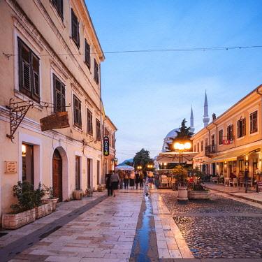 ALB0063AW Rruga Kolë Idromeno Street at night, Old Town, Shkodra, Albania
