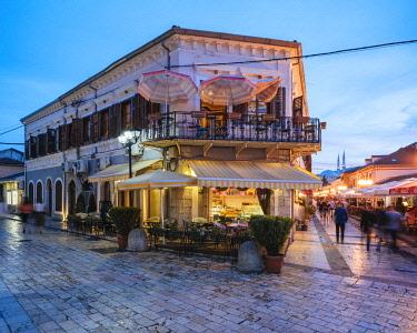 ALB0064AW Rruga Kolë Idromeno Street at night, Old Town, Shkodra, Albania