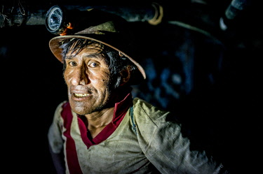 BOL8667AW Portrait of Vicente, The Mines of Cerro Rico, Potosi, Southern Altiplano, Bolivia