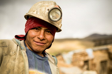 BOL8668AW Portrait of Luiz, The Mines of Cerro Rico, Potosi, Southern Altiplano, Bolivia