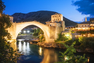 BOS1063AW Stari Most Bridge at night, Mostar, Bosnia & Hercegovina