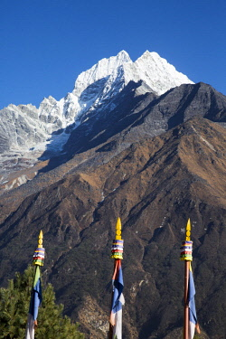 NEP2155 Namche Bazaar, Nepal. Thamserku mountain, at 6623m, as seen from Namche Bazaar.